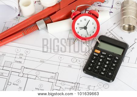 Drafts with instrument and calculator