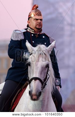 ST. PETERSBURG, RUSSIA - SEPTEMBER 7, 2015: Actor in historic costume during the opening ceremony of the XI World Championship in Fire and Rescue Sport. First World Championship was held in 2002