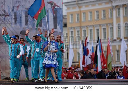 ST. PETERSBURG, RUSSIA - SEPTEMBER 7, 2015: Team Azerbaijan during opening ceremony of the XI World Championship in Fire and Rescue Sport. First World Championship was held in 2002