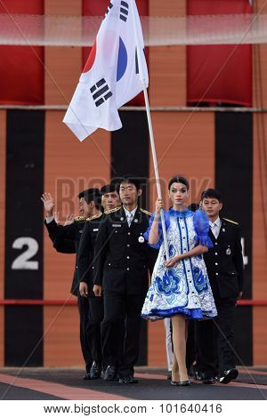 ST. PETERSBURG, RUSSIA - SEPTEMBER 7, 2015: Team Korea during opening ceremony of the XI World Championship in Fire and Rescue Sport. First World Championship was held in 2002