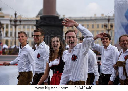 ST. PETERSBURG, RUSSIA - SEPTEMBER 7, 2015: Team Austria during the opening ceremony of the XI World Championship in Fire and Rescue Sport. First World Championship was held in 2002