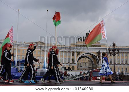 ST. PETERSBURG, RUSSIA - SEPTEMBER 7, 2015: Team Belarus during opening ceremony of the XI World Championship in Fire and Rescue Sport. First World Championship was held in 2002