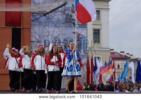 ST. PETERSBURG, RUSSIA - SEPTEMBER 7, 2015: Team Czech Republic during opening ceremony of the XI World Championship in Fire and Rescue Sport. First World Championship was held in 2002