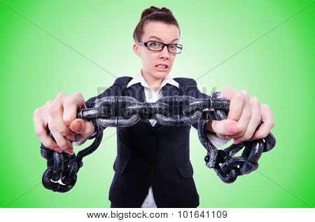 Woman with hands and handcuffs