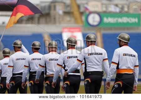 ST. PETERSBURG, RUSSIA - SEPTEMBER 9, 2015: Team Germany before competitions in combat deployment during the XI World Championship in Fire and Rescue Sport. First World Championship was held in 2002
