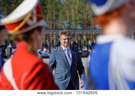 NOVOPRIOZERSK HIGHWAY, LENINGRAD OBLAST, RUSSIA - SEPTEMBER 11, 2015: Minister of transport of Russia Maksim Sokolov during the opening ceremony of Worldskills Russia championship among road workers