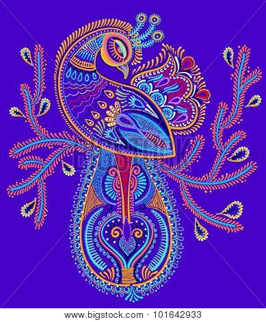 ethnic folk art of peacock bird with flowering branch design,