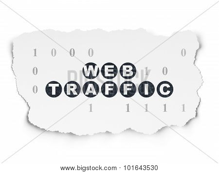 Web development concept: Web Traffic on Torn Paper background