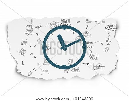 Timeline concept: Clock on Torn Paper background