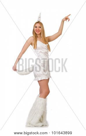 Blond hair woman in masquerade costume isolated on white