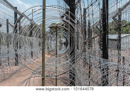barbwire fence. guarded border