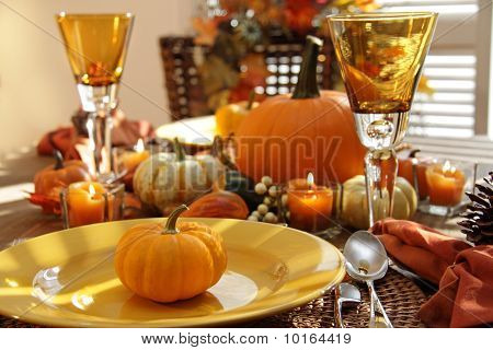 Place Settings Ready For Thanksgiving