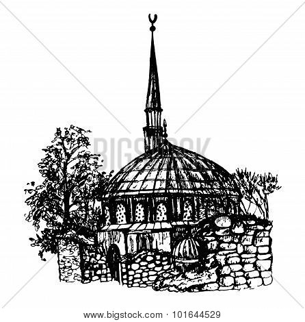 ink hand drawn sketch view of the mosque and the ruins of an church in Istanbul graphic vector