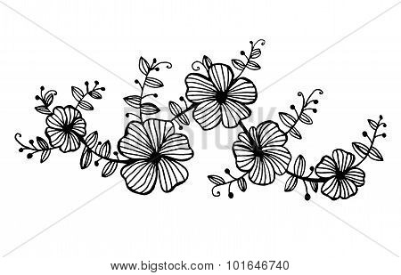 twig garlands of flowers with leaves pattern graphic vector illustration