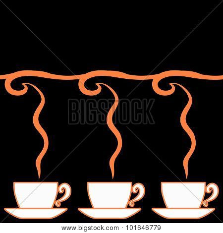 Horizontal Seamless Pattern Of Beverage Cups And Fragrance In The Art Nouveau Style