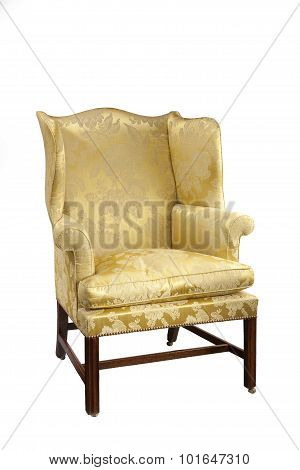 Antique Upholstered Wing Arm Chair  Isolated On White