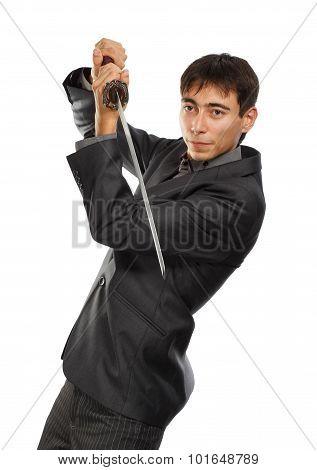 Businessman With Katana Sword