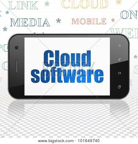 Cloud networking concept: Smartphone with Cloud Software on display