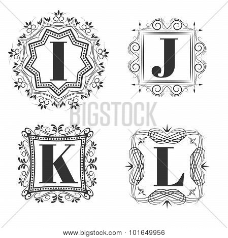 Set of classical logo or monogram design. Letters I, J, K, L. excellent vector illustration, EPS 10