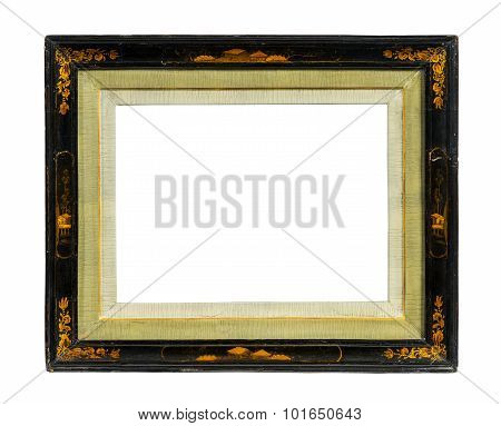 Oriental Picture Frame Old Antique Lacquer And Gold Isolated On White