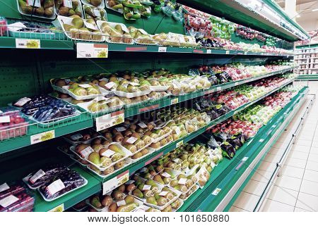 Shelf with vegetables, TM's removed, toned image