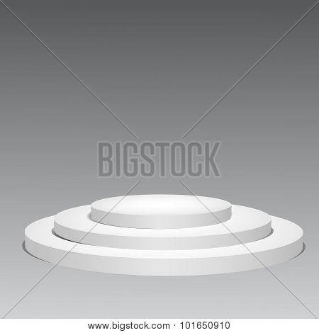 3D Empty White Podium On Gray Background. Vector Illustration Eps 10