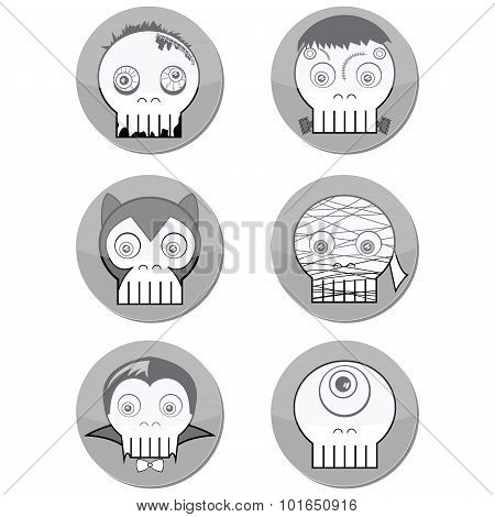 Black and white Halloween Monster  skulls such as  vampire, zombie, Woolf man, cyclops and mummy in