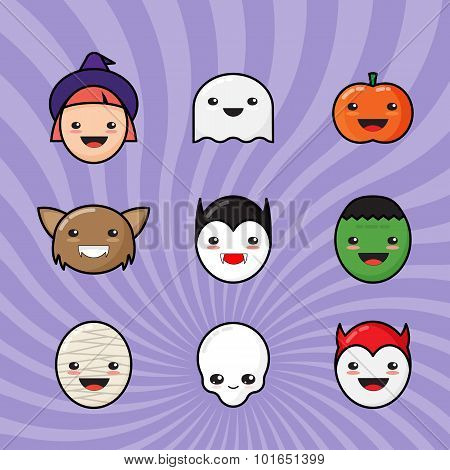 Cute Kawaii Halloween Icons Set. Funny Monster Faces on Colorful Background