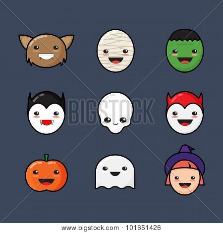 Cute Kawaii Halloween Icons Set. Funny Monster Faces on Dark Background