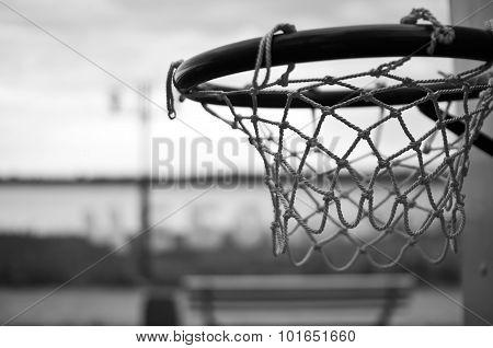 Basketball net on the street