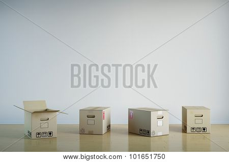 Many moving boxes in empty room in front of a wall (3D Rendering)
