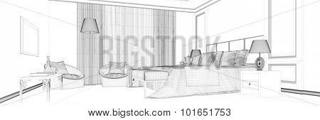 CAD model of elegant bedroom in a hotel (3D Rendering)