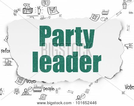 Political concept: Party Leader on Torn Paper background