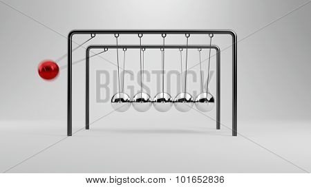 Ball flying in Newton's cradle to other balls (3D Rendering)