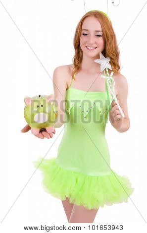 Pretty red hair fairy in green dress holding piggybank isolated on white
