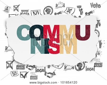 Political concept: Communism on Torn Paper background
