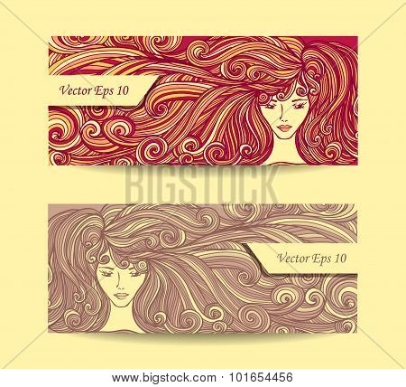 Set Beautiful Girl with long curly hair in red beige