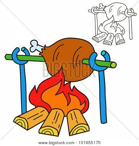 Bonfire with grilled beef. Coloring book page. Cartoon vector illustration.