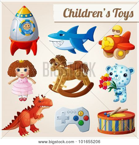 Set of kid's toys. Part 2. Cartoon vector illustration.
