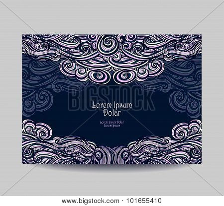 Template  label with abstract wave  in dark blue pink