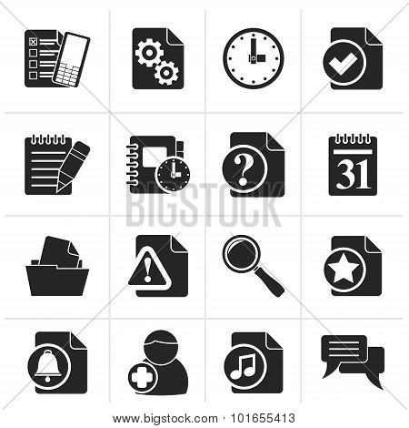 Black Organizer, communication and connection icons