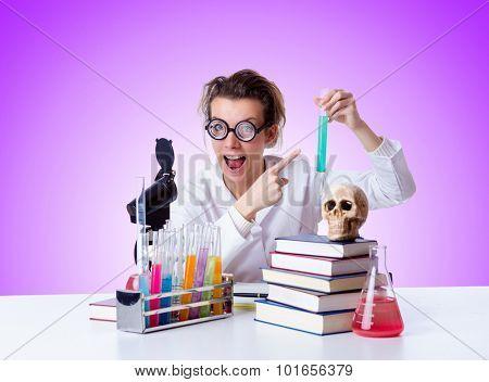 Crazy female chemist in lab