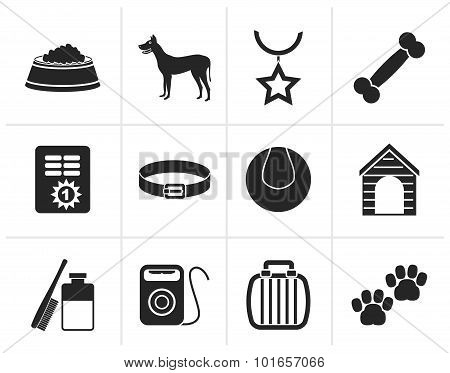 Black dog accessory and symbols icons