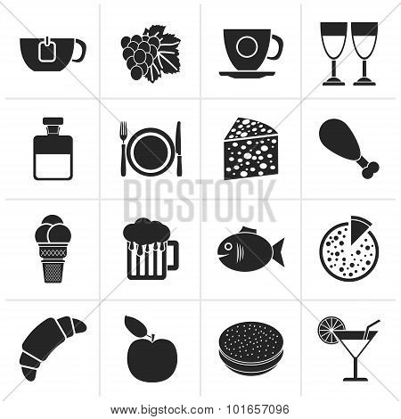 Black Food, Drink and beverage icons