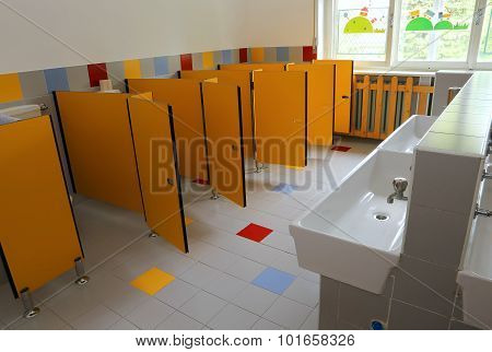 Small Bath Of A Kindergarten Without Kids
