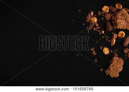 Cookie Crumbs Background / Cookie Crumbs / Cookie Crumbs On Black Background