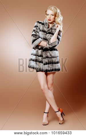 Fashion shot of a beautiful blonde woman wearing jewelry and fur coat. Studio shot. Full length portrait.