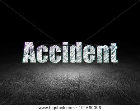 Insurance concept: Accident in grunge dark room