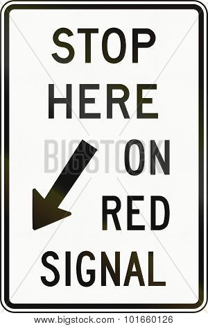 Stop Here On Red Signal In Canada