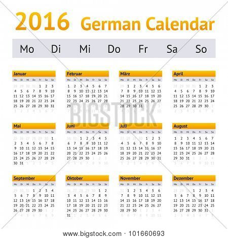 2016 German Calendar. Week starting on Monday